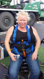 Harnessed up for bungee jump